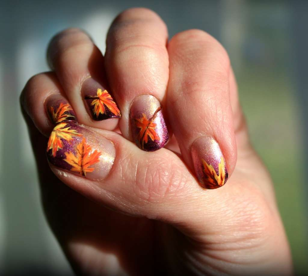 Autumn maple leaves nail design :: one1lady.com :: #nail #nails ...