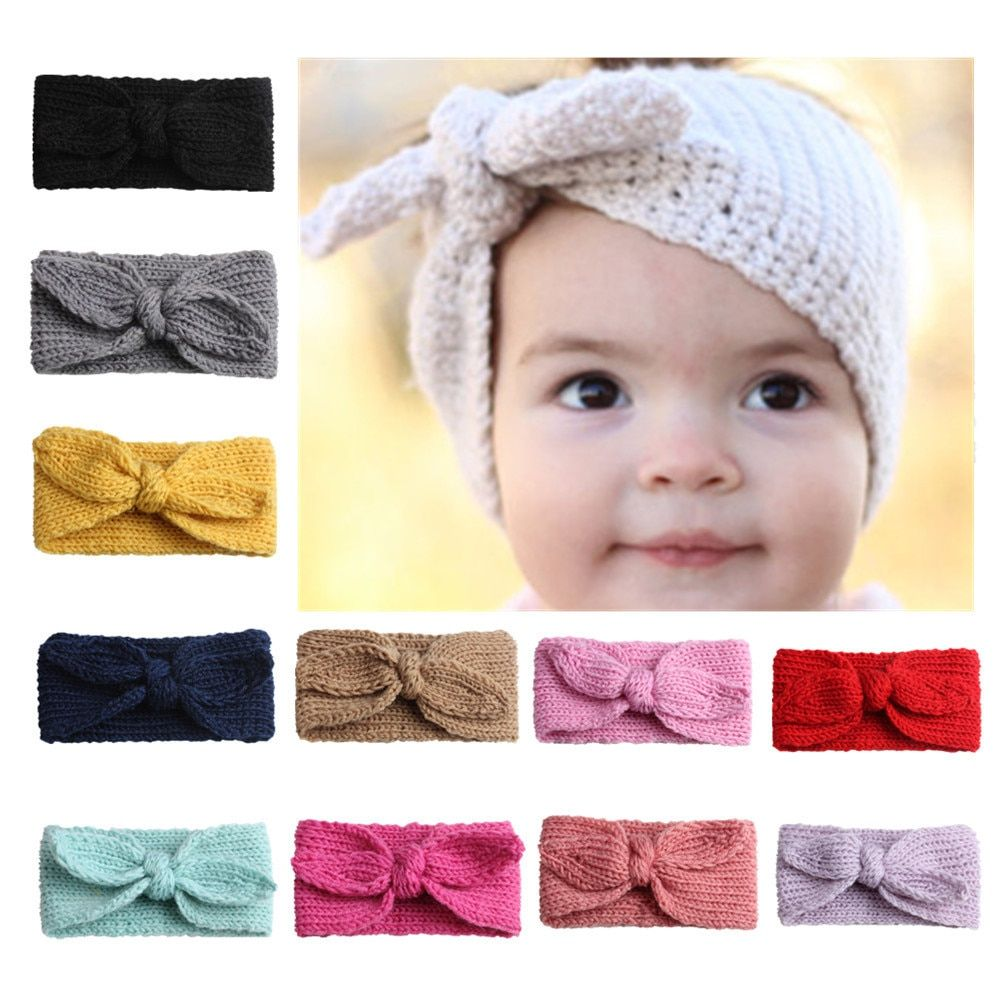 Kids Baby Toddler Girl Crochet Knitted Warm Ear Hair Band Wrap Bow Headband