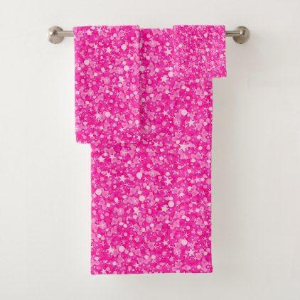 Fantastic Hot Pink Glitter White Sparks Bath Towel Set Zazzle Com Download Free Architecture Designs Lukepmadebymaigaardcom