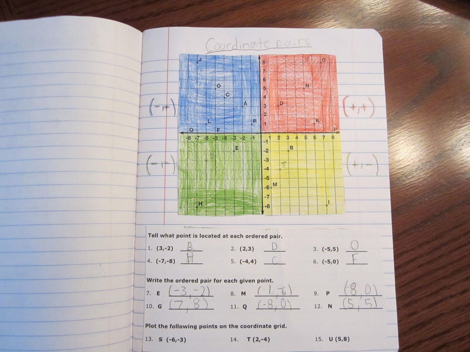 Coordinate Grid Interactive Math Notebooks