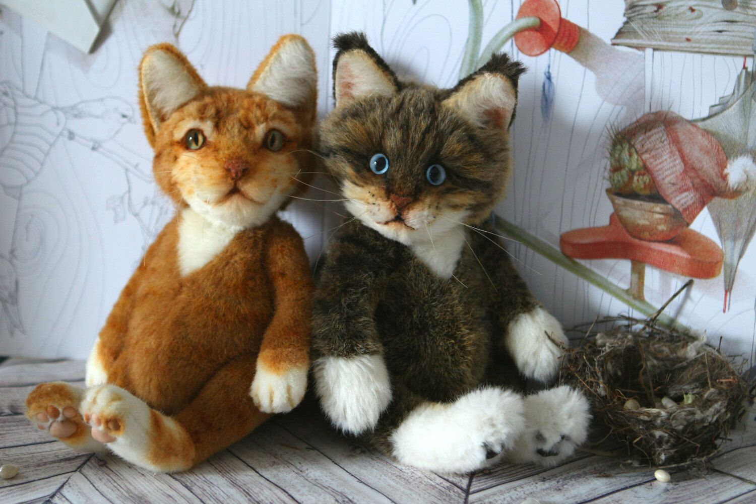 Cat Portrait Ginger Kitten 12 In Teddy Cat For Your Pets Artist Teddy Bears Pet Portraits Whimsical Animalistic Gifts Valentine S Day In 2020 Ginger Kitten Your Pet Cute Little Kittens
