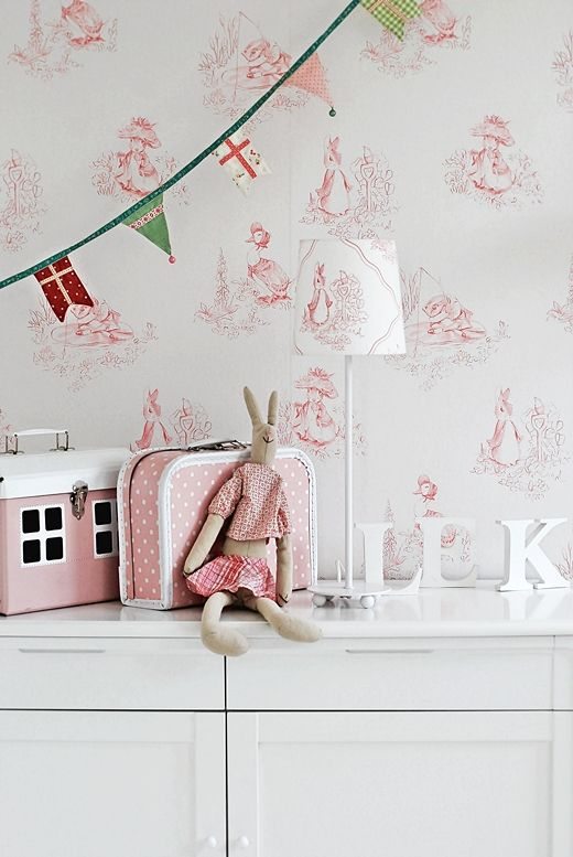 Girls room beatrix potter love the wallpaper pinks for Beatrix potter bedroom ideas