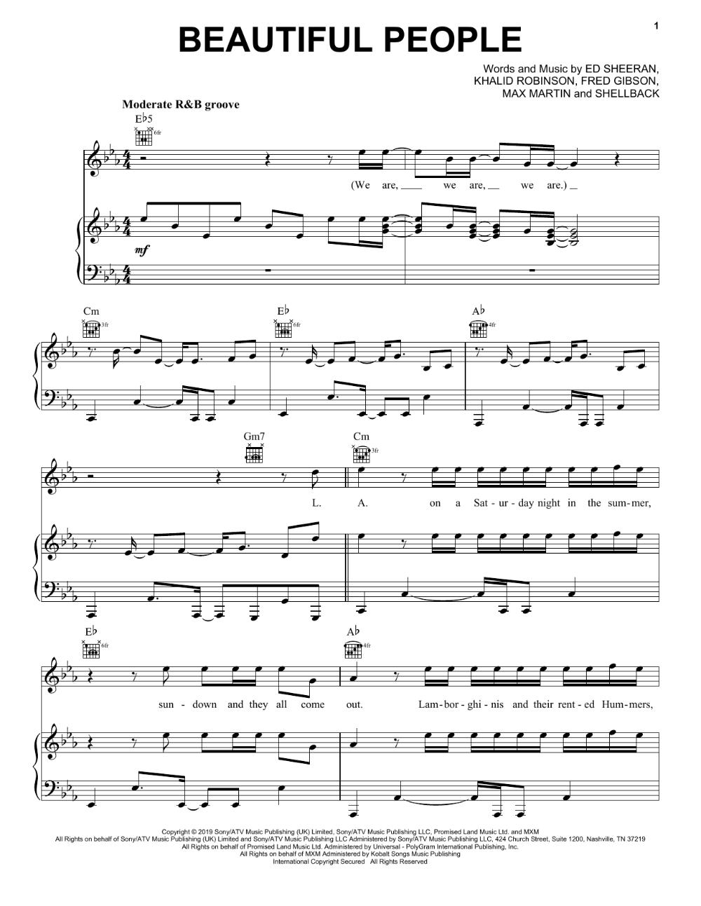 Ed Sheeran Beautiful People Feat Khalid Sheet Music Notes Chords Score Download Printable Pdf Sheet Music Notes Sheet Music Ed Sheeran
