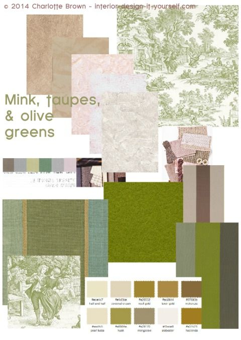 Mix soft olive greens with taupes and mink paint colors for Soft taupe paint color