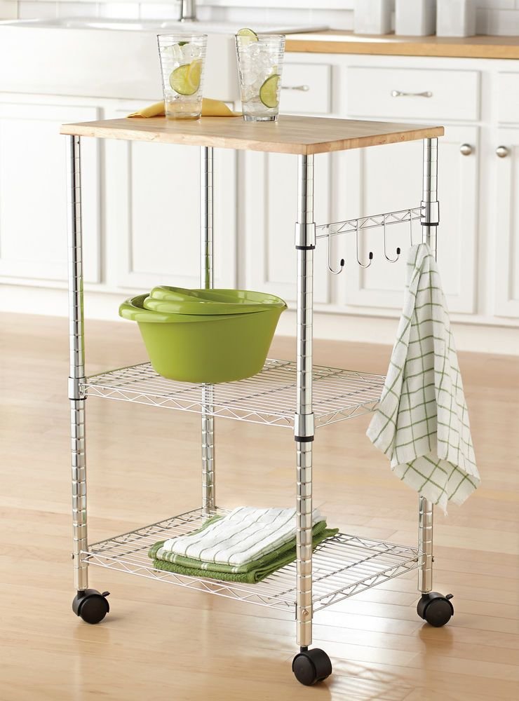Rolling Kitchen Cart Mobile Utility Storage Counter