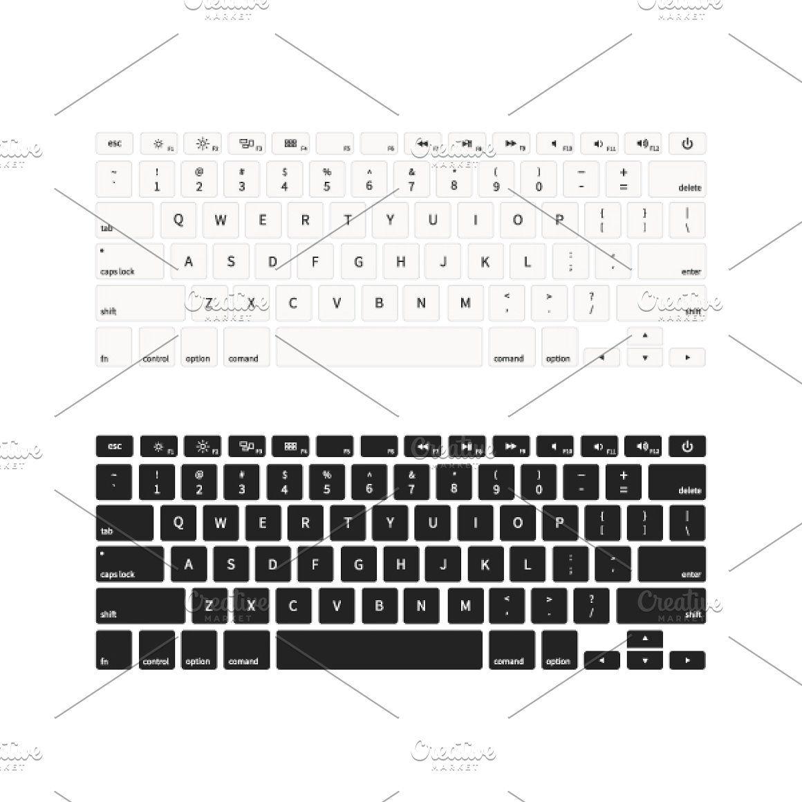 Set Of Laptop Keyboards On White