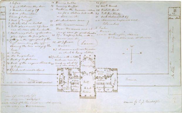 Cornelia Jefferson Randolph Drew This Plan Of Monticello 39 S