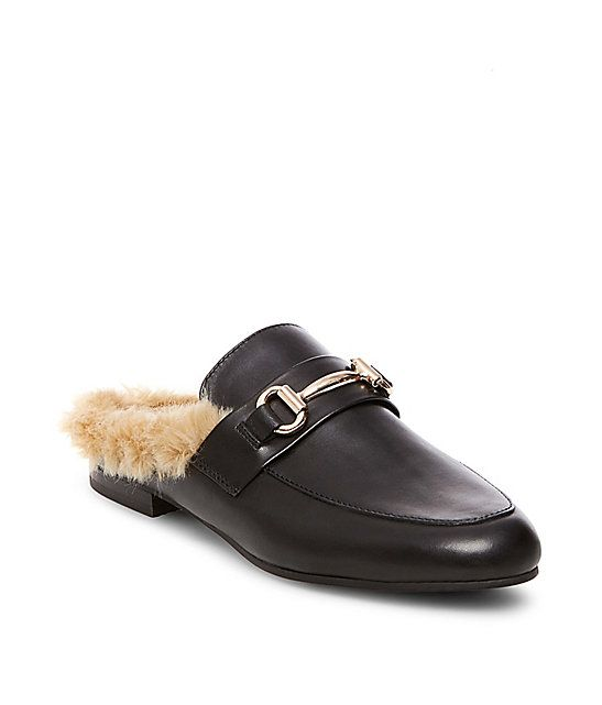 487ad462268 Fur Lined Backless Loafers | Steve Madden JILL | Shoes | Steve ...