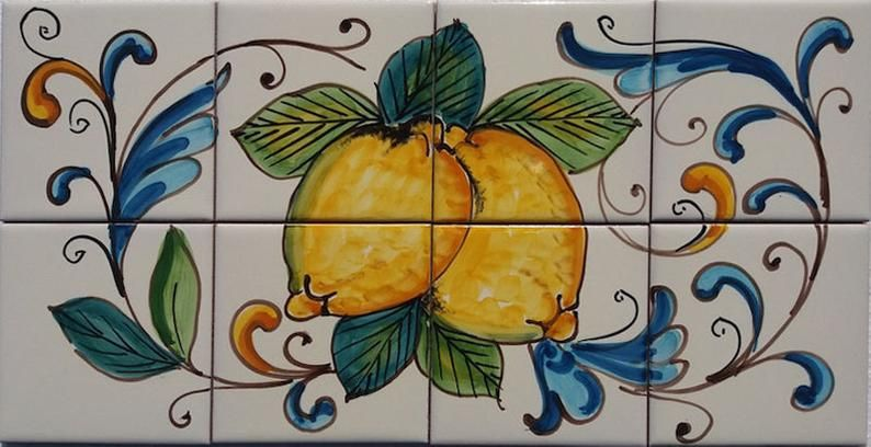 Hand Decorated Tiles, Rustic Italian Decor, Kitchen Decor, Kitchen Backsplash, Decorative Tiles, Lemon Decor, Kitchen Art