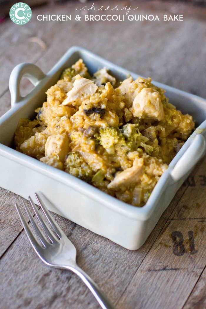cheesy chicken and broccoli quinoa bake- this is a delicious gluten free casserole full of healthy whole foods!