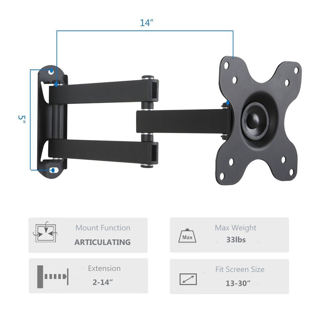 "WALI TV Wall Mount Articulating LCD Monitor Full Motion 14/"" Extension Arm for..."