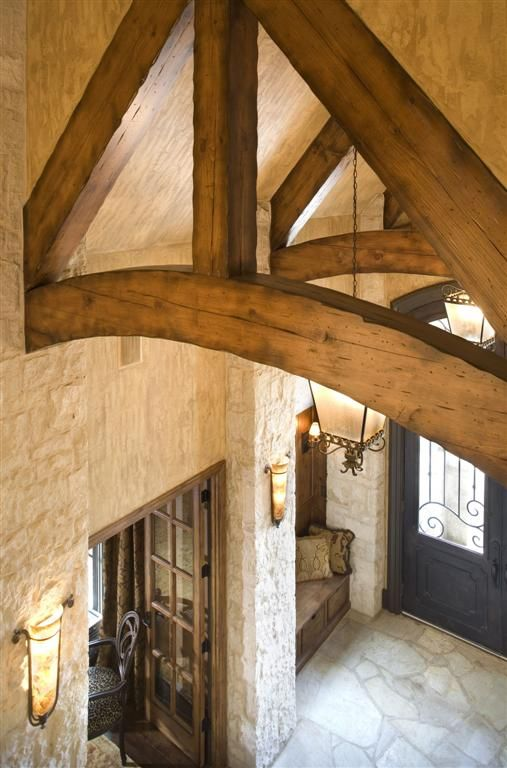 Entry exposed beam dream houses pinterest exposed for Faux wood trusses