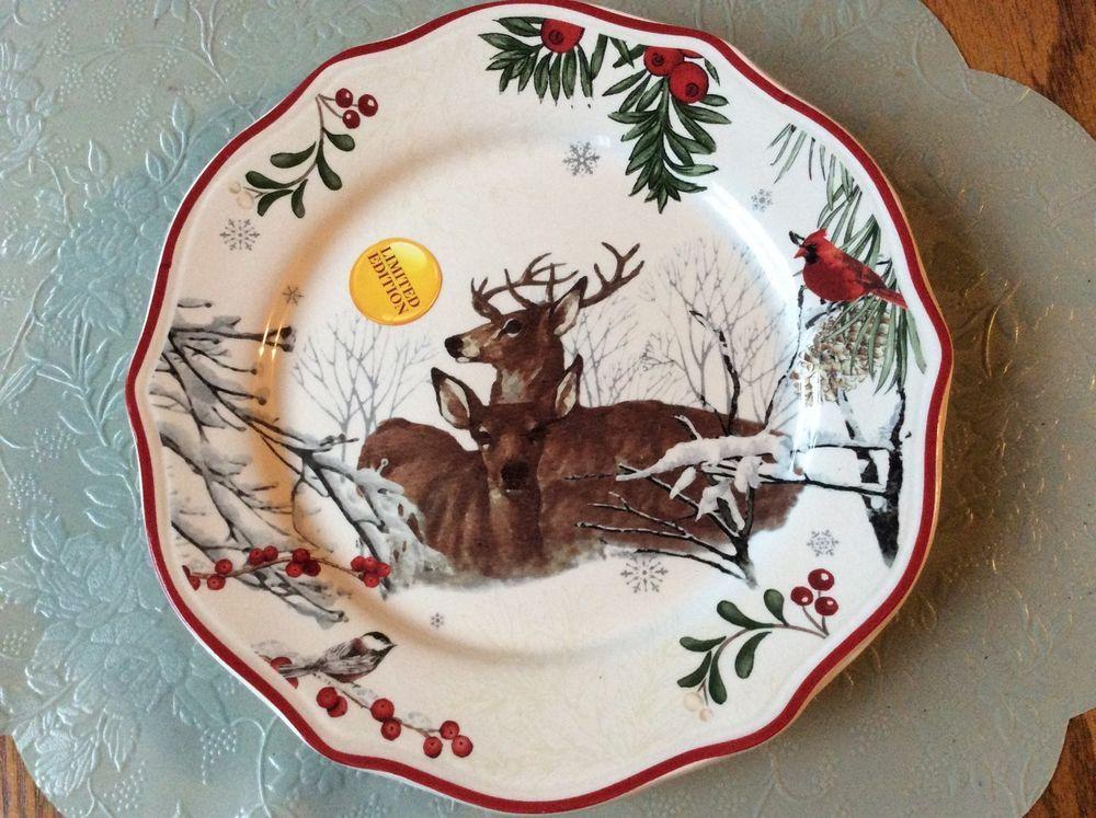 Better Homes And Gardens Resting Deer Cardinal Heritage Salad Plates    Christmas #BetterHomesGardens