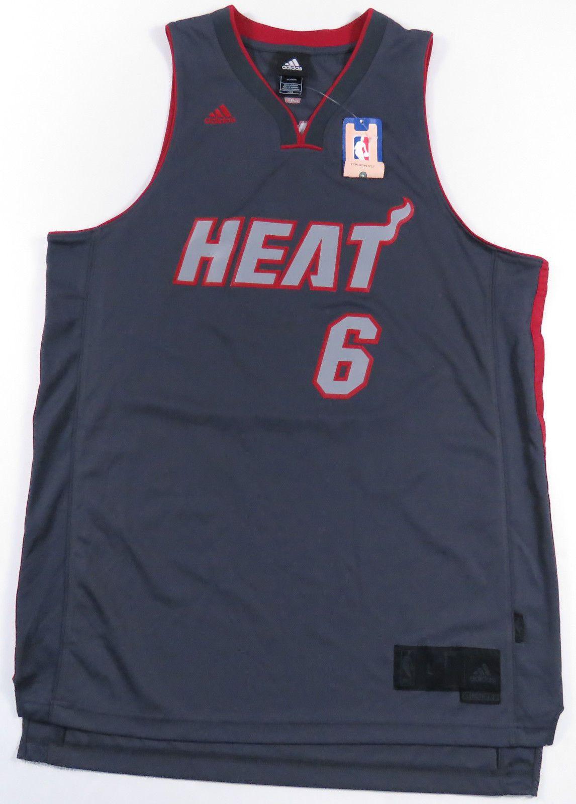 722764edede2 LEBRON JAMES MIAMI HEAT ADIDAS SEWN GREY BASKETBALL JERSEY NBA MENS NEW NWT  L (eBay Link)