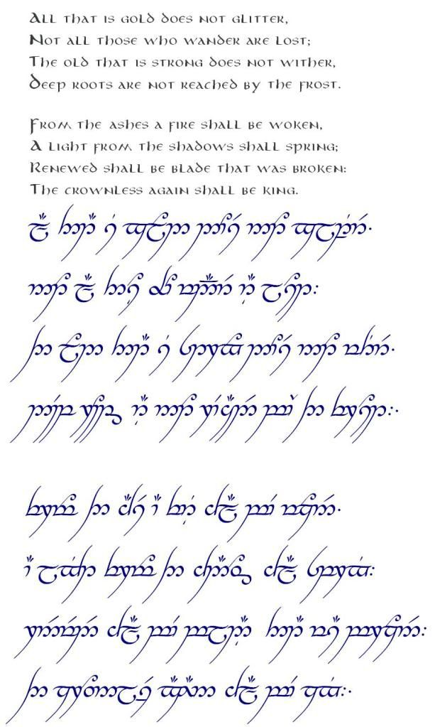 The Full Poem In Elvish Script I Know Im A Dork For Repinning This