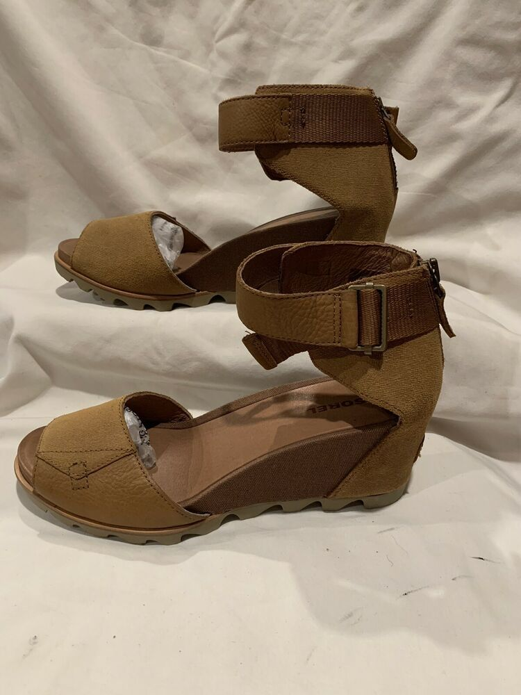 d6330a93209f NWOB SOREL Women s  Joanie  Brown Wedge Ankle Strap Sandal