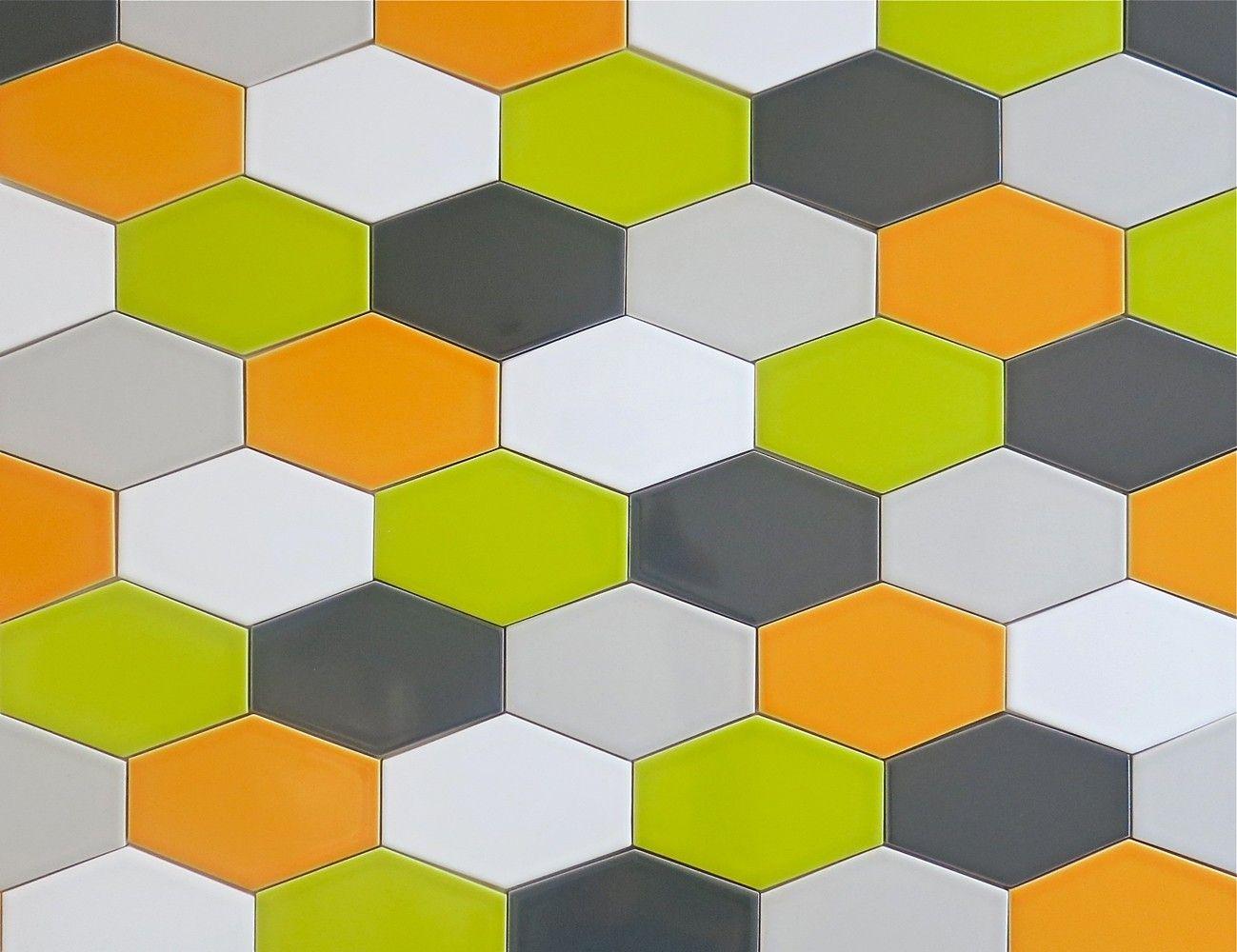 Clayhaus Orange 5x3 Ceramic Stretched Hex Tile Goldfish Multicolor ...