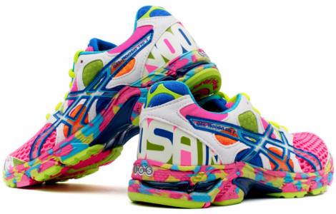 neon athletic shoes
