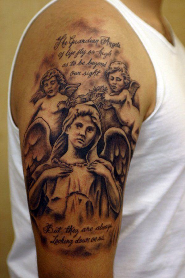 3c4c9cf7c2b44 Angel and Cherubs quarter sleeve tattoo - 40 Quarter Sleeve Tattoos < ...