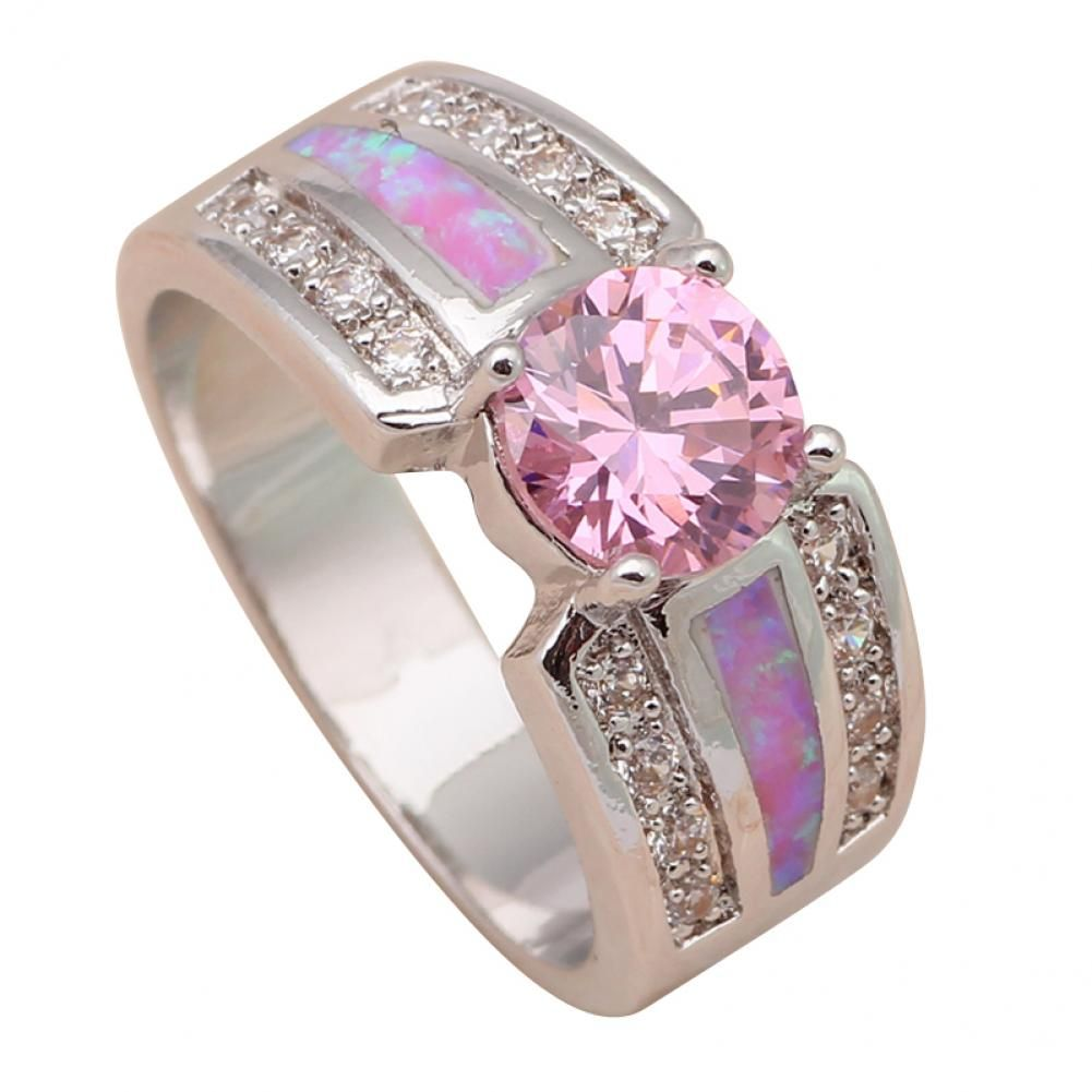 Excellent Pink Az Rings For Women 925 Silver Fashion Jewelry Pink Fire Opal Crystal Rings Usa Size 6 6 Silver Jewelry Fashion Pink Topaz Ring Fashion Jewelry