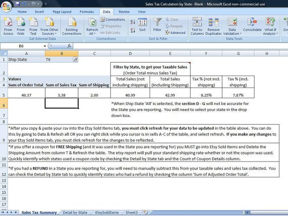 Sales Tax Summary Spreadsheet for Etsy Sellers, Template Summarizes