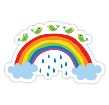 Birds Standing On A Rainbow Sticker By Mheadesign With Images