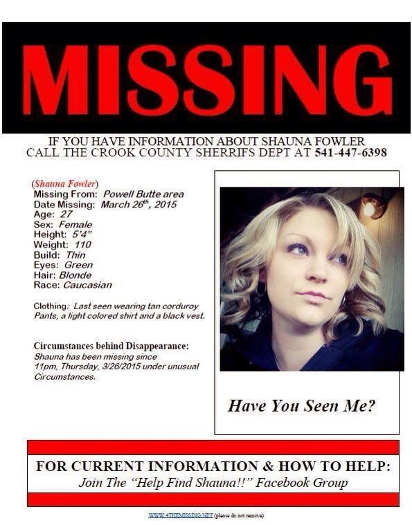 Missing Persons of America Shauna Fowler Missing from Oregon - missing person flyer template