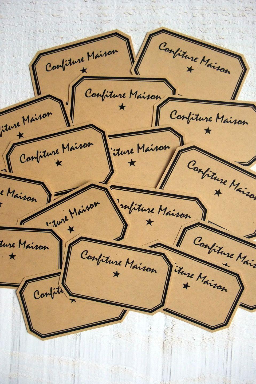 """Lot de 16 étiquettes """"Confiture Maison"""" (kraft adhésif ..."""