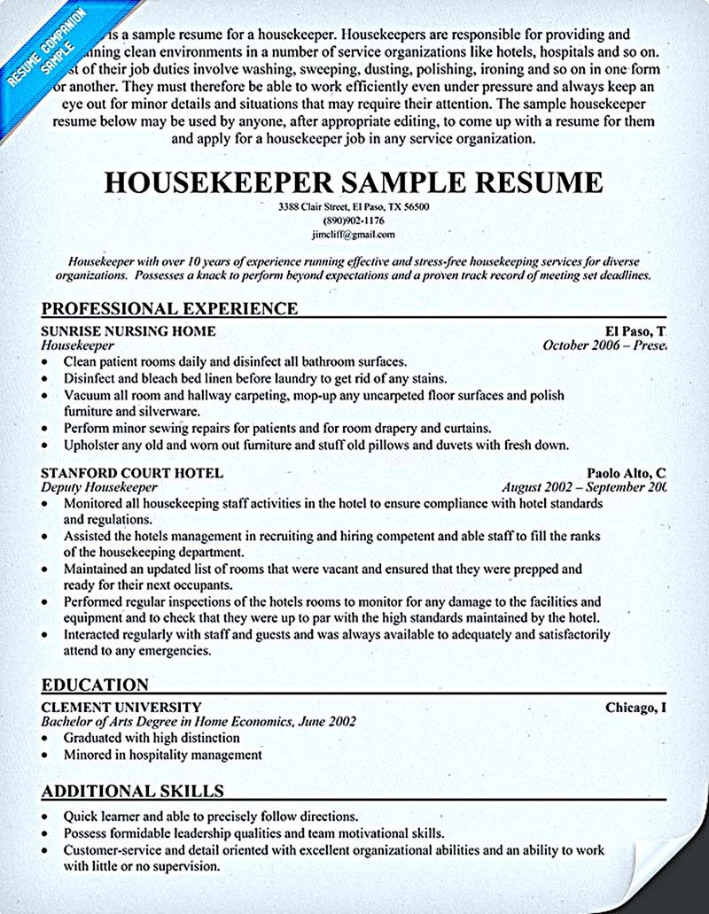 Housekeeper Resume Should Be Able To Contain And Highlight Important