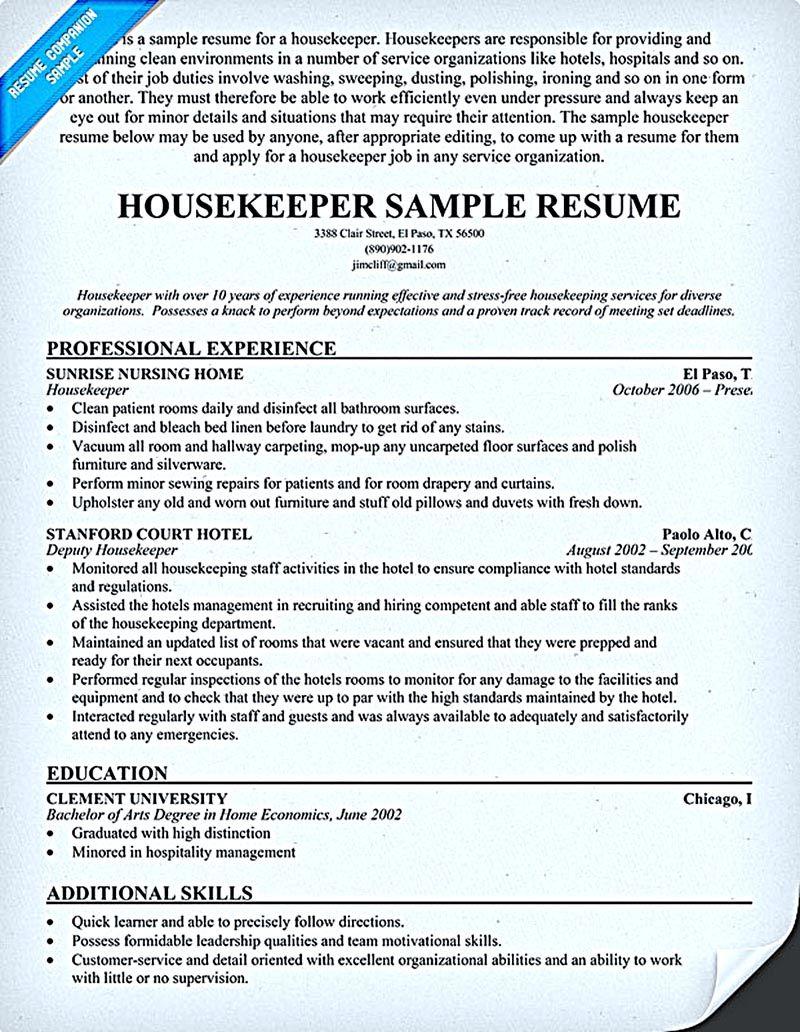 Hotel Job Resume Sample Topl Tk