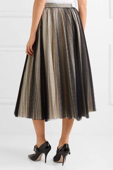 b14f45d3d9 Philosophy di Lorenzo Serafini - Pleated Point D'esprit Tulle Skirt - Black
