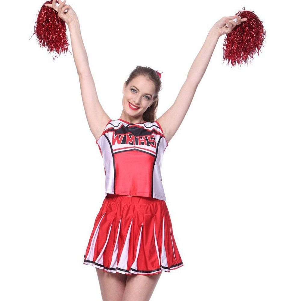 Glee style Cheerleader Cheerios Costume Fancy Dress Outfit Adult w// Pom poms