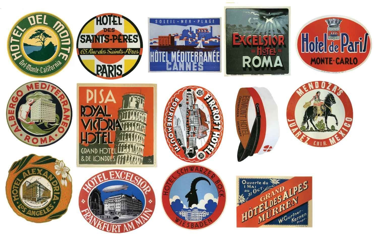 tiquettes pour bagages vintage h tel stickers lot de 14 autocollants de valise de voyage. Black Bedroom Furniture Sets. Home Design Ideas