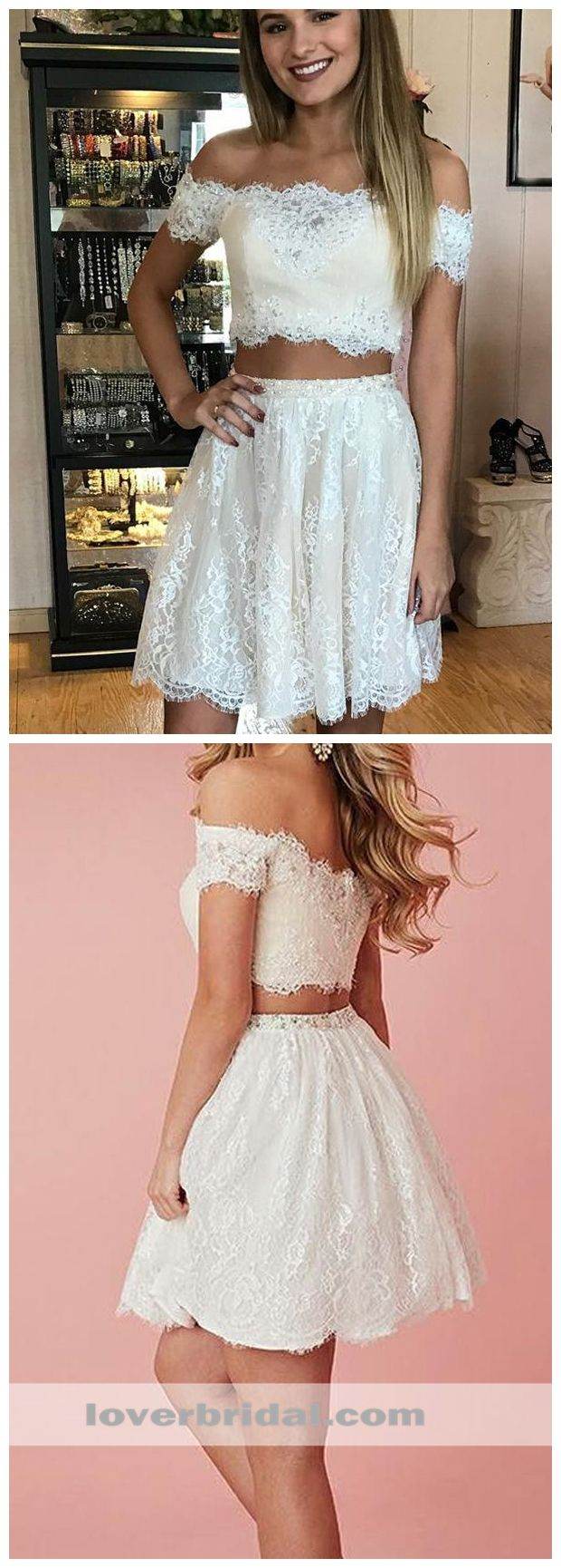 Two pieces off shoulder lace cheap short homecoming dresses online