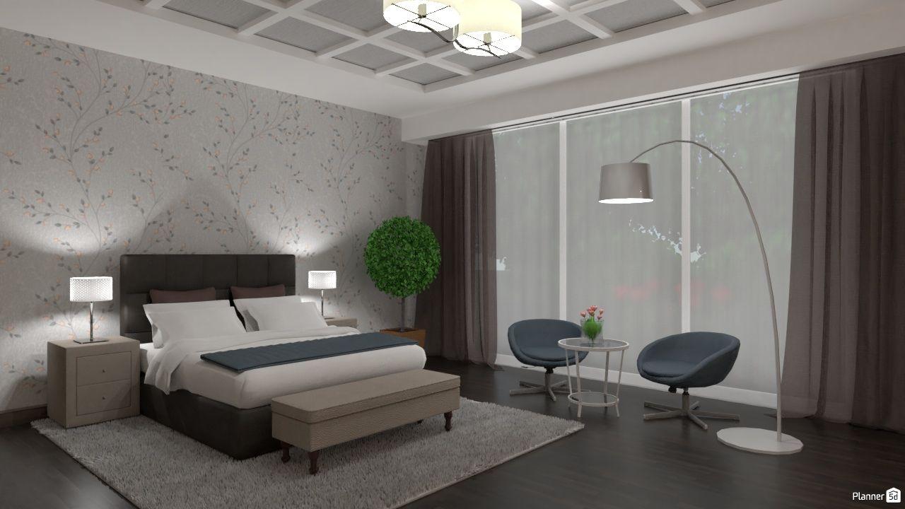 Bedroom Interior Design Modern Hotel Room Grey And Brown Colors