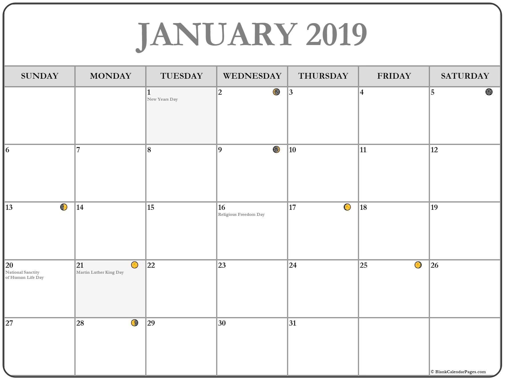 Calendar January Moon Phase