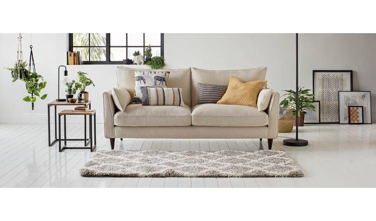Brilliant Buy Argos Home Hector 3 Seater Fabric Sofa Natural Linen Download Free Architecture Designs Crovemadebymaigaardcom