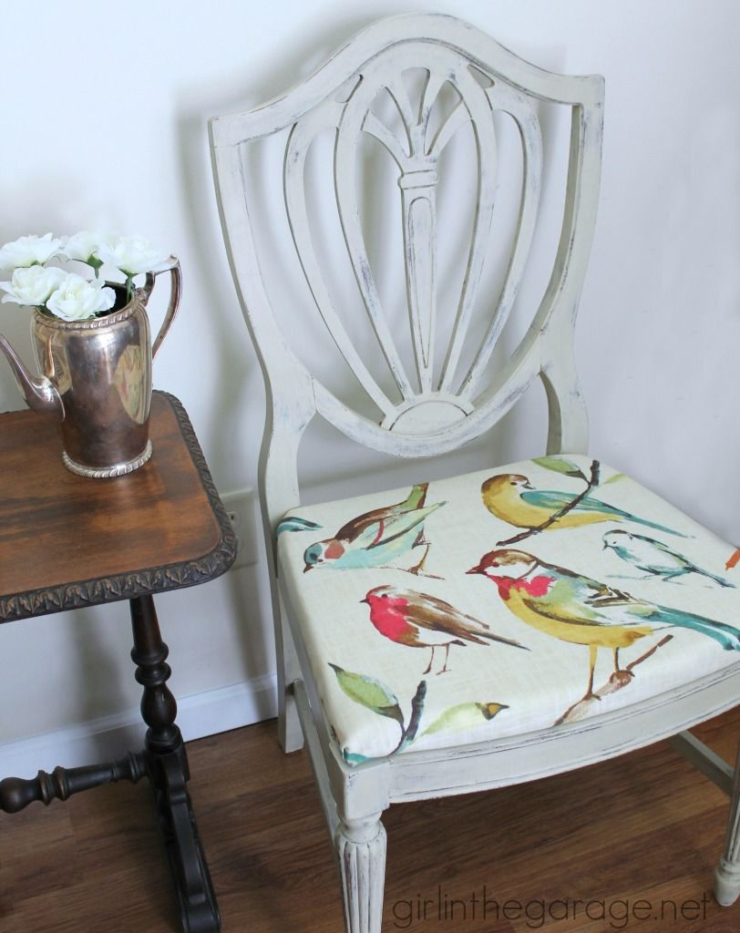 Country Grey Chalk Paint Chair Makeover with Bird Fabric | Chair ...