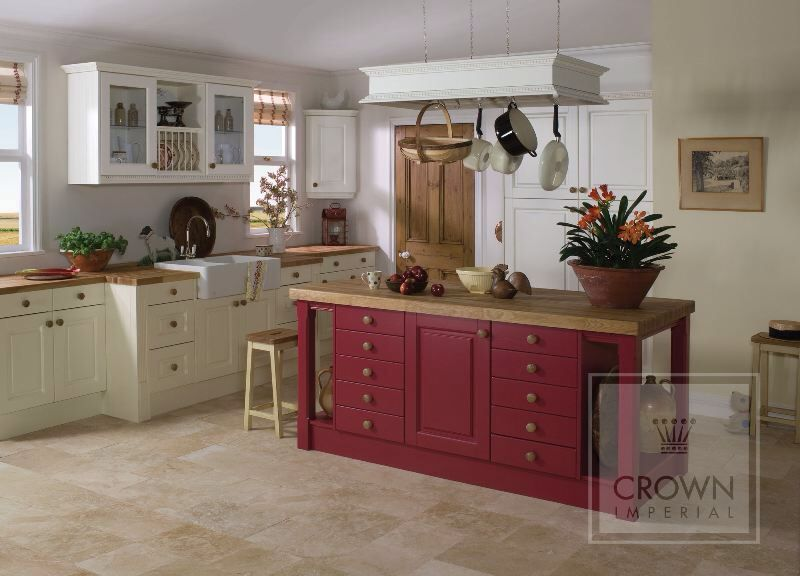 Cream Kitchen Red Island And Beautiful Chalky Oak Worktop