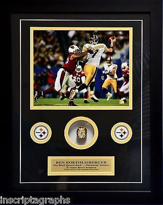 BEN ROETHLISBERGER SUPER BOWL XLIII RING COLLAGE PITTSBURGH STEELERS FRAMED 8X10