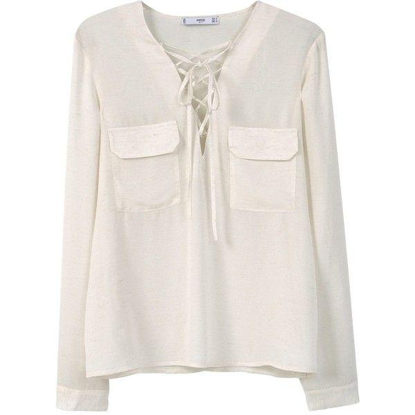 Mango Drawstring neck blouse (830 ZAR) ❤ liked on Polyvore ...
