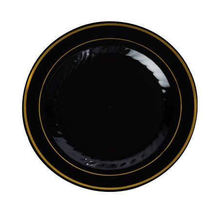 Elegant Black with Gold Rim 7\  Round Plastic Plate - Package of 15- Posh  sc 1 st  Pinterest & 7.5\
