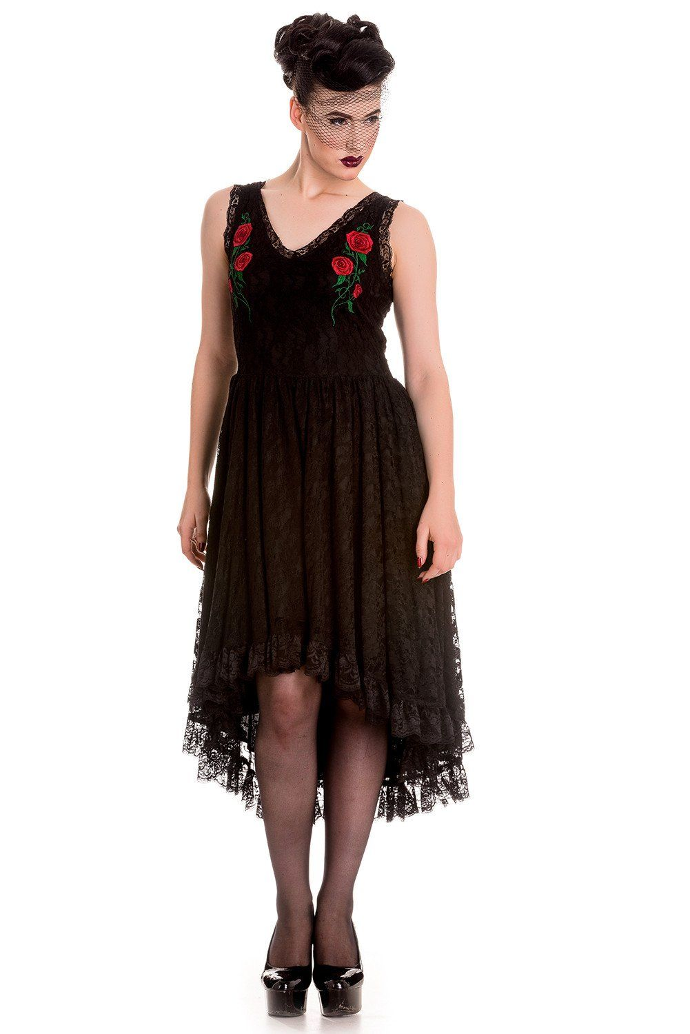 bfe9fcfd8030 Spin Doctor Gothic Midnight Dance Black Floral Lace High-low Party Dress,  $75.95,