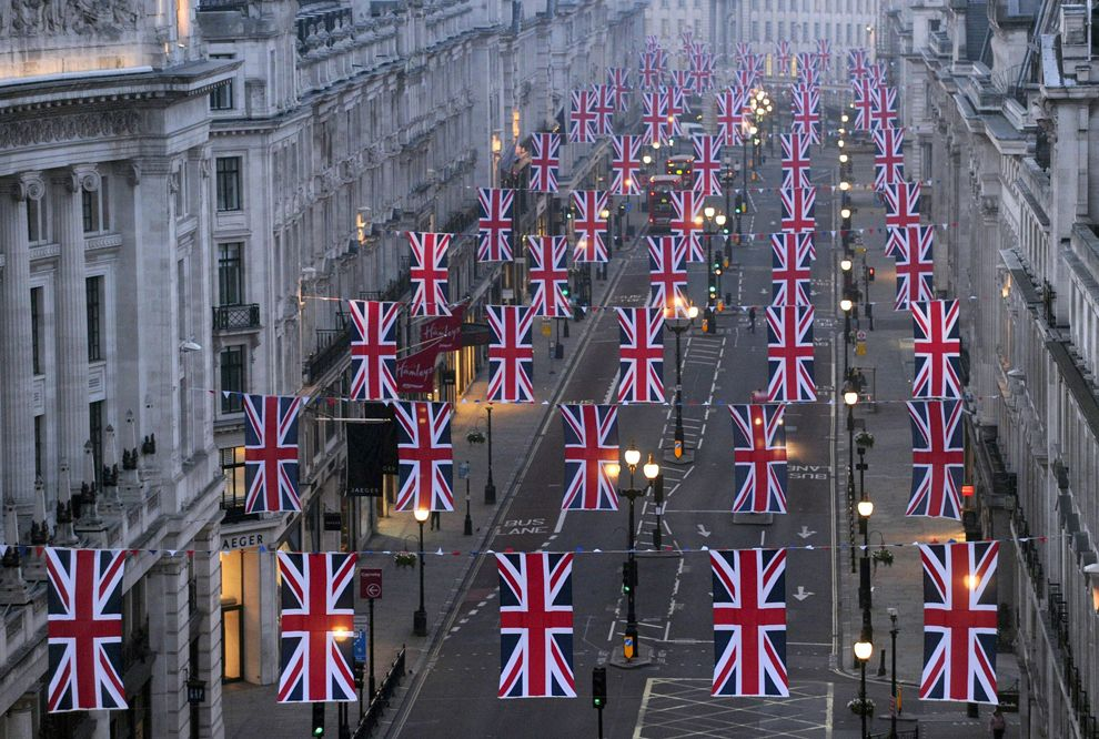 union jacks in london for royal wedding