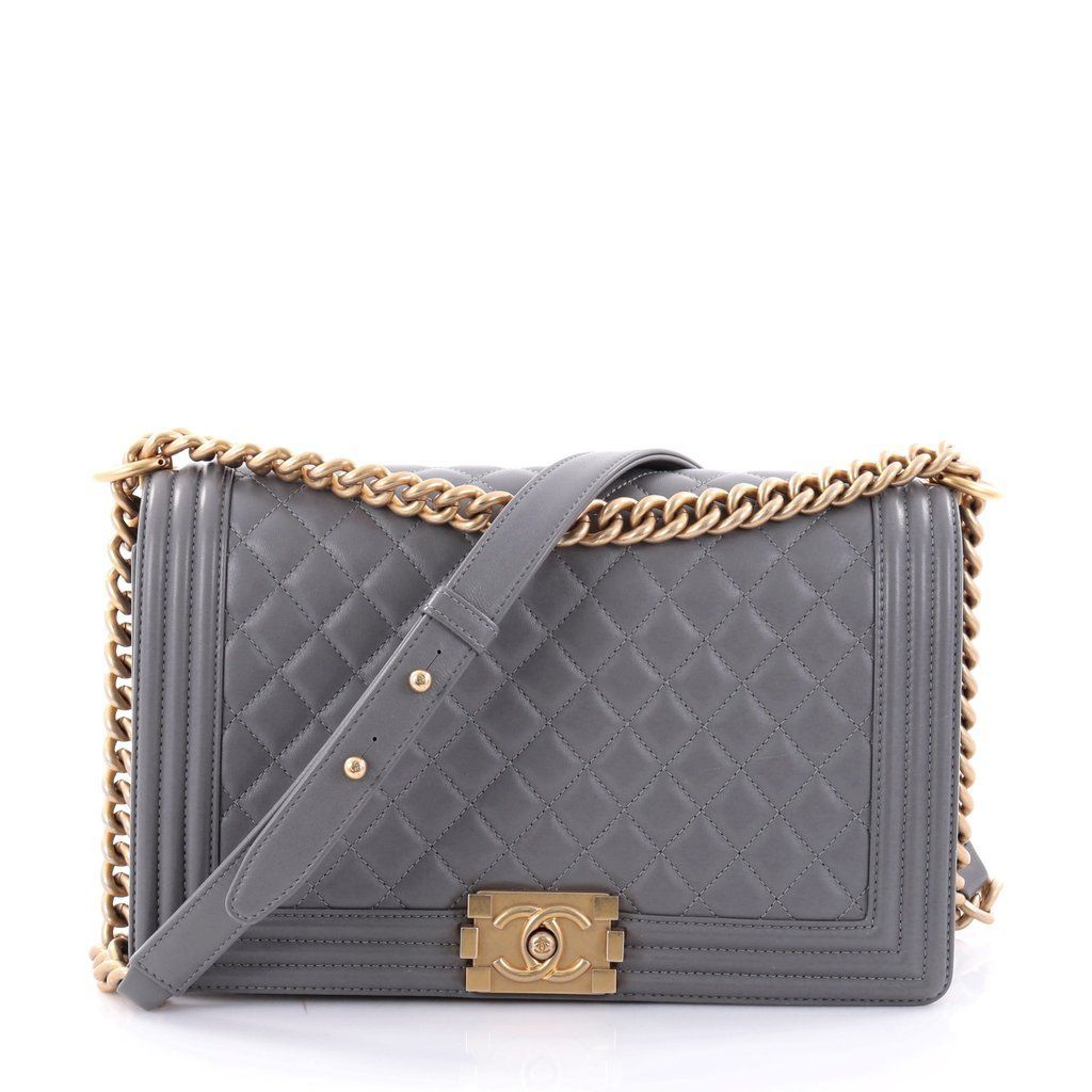 f93d567a45ad5c Online Sale - Authentic Gray Chanel Boy Flap Bag Quilted Lambskin New Medium  at Trendlee.com. Guaranteed genuine! Financing available.