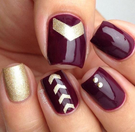 Gold And Purple Wine Nails Diy Nail Ideas Pinterest Wine Nails