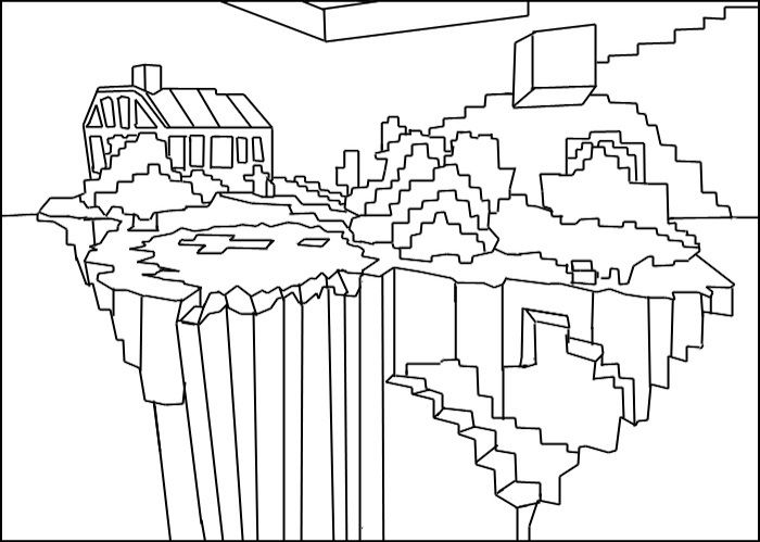Printable Minecraft World Coloring Page