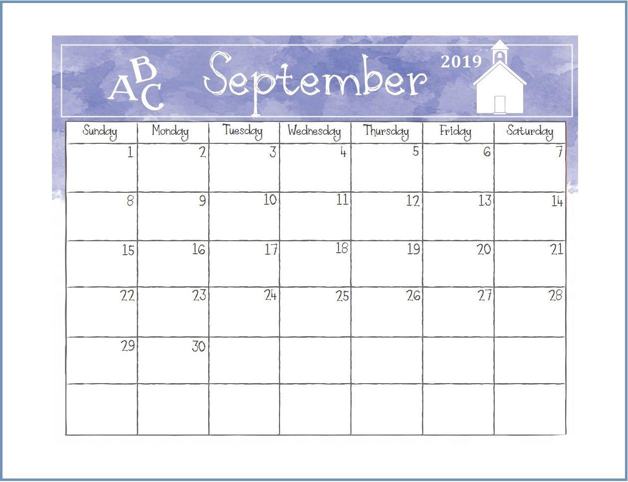Printable September 2019 Desk Calendar Monthly Calendar Templates
