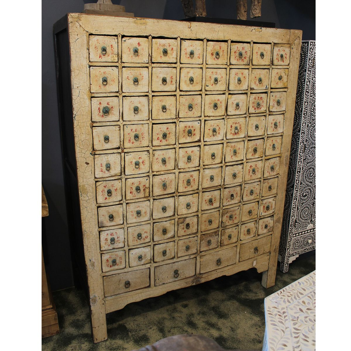 Large Vintage Medicine Apothecary Cabinet. Crackled Cream Finish With  Chinese Content And Herb Descriptions On