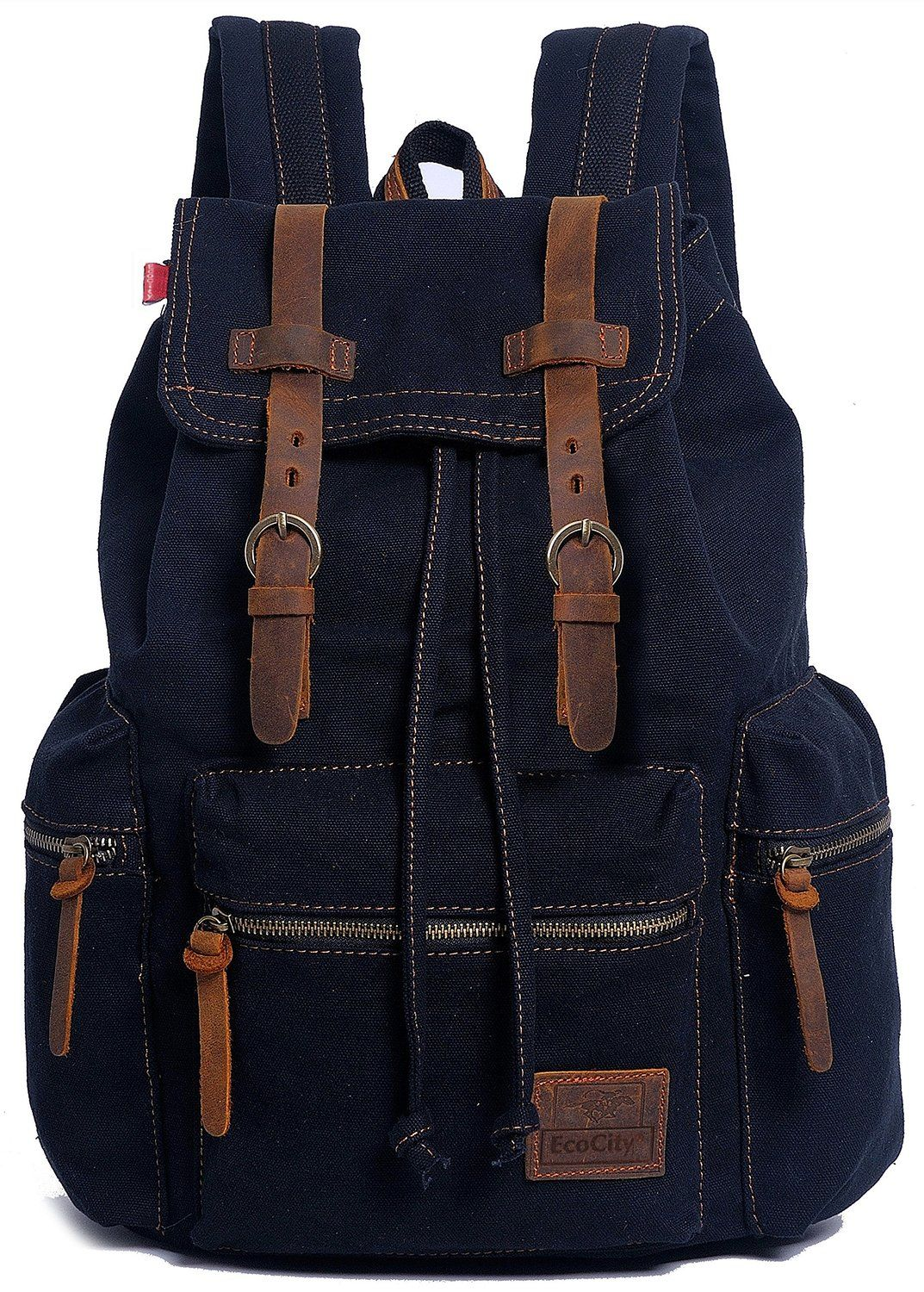Camping Bags : Backpack and accessories :EcoCity Vintage Canvas Backpack Rucksack Casual Daypacks Bookbags >>> See this great image